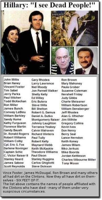 """Most people seem to have forgotten about the many suspicious deaths of Clinton """"friends"""" & associates."""