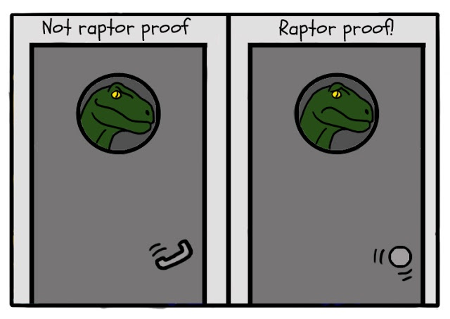 If only they had round doorknobs in Jurassic park....
