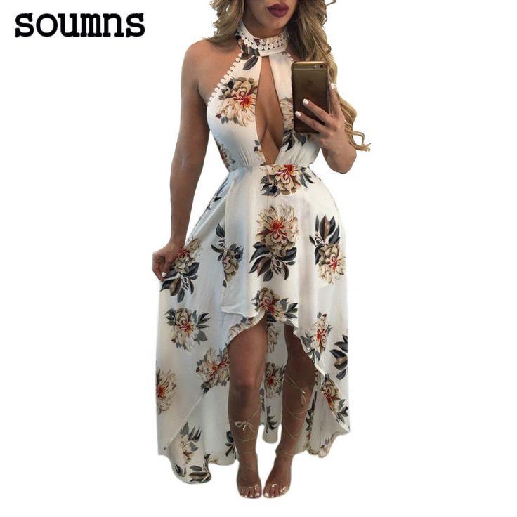 Soumns 2017 Nieuwe Dames Strapless Club Fashion Dress Novelty Backless Maxi Lange Print Chiffon Jurken SMR8502