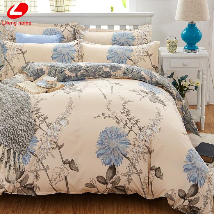 Classic bedding set 5 size grey blue flower bed linens 4pcs/set duvet cover set Pastoral bed sheet AB side duvet cover 2017 bed #>=#>=#>=#>=#> Click on the pin to check out discount price, color, size, shipping, etc. Save and like it!