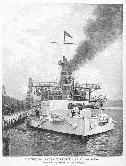 Us Navy Ships 1898 | 1898 US Naval History - The monitor USS Puritan with deck cleared for ...