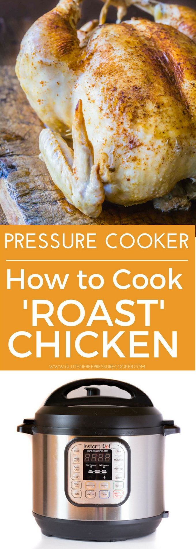 Instant Pot Whole Chicken, cook a rotisserie style whole chicken in your Instant pot or other electric pressure cooker! gluten free, paleo and whole30.
