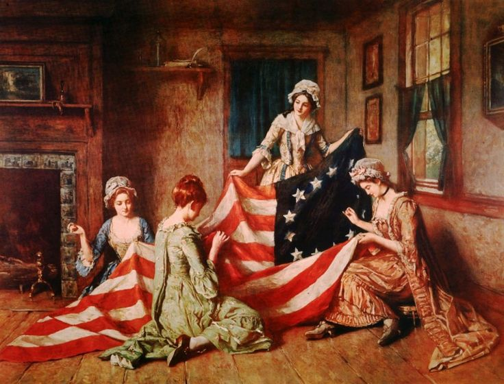 Sewing the First American Flag jigsaw puzzle in Handmade puzzles on TheJigsawPuzzles.com