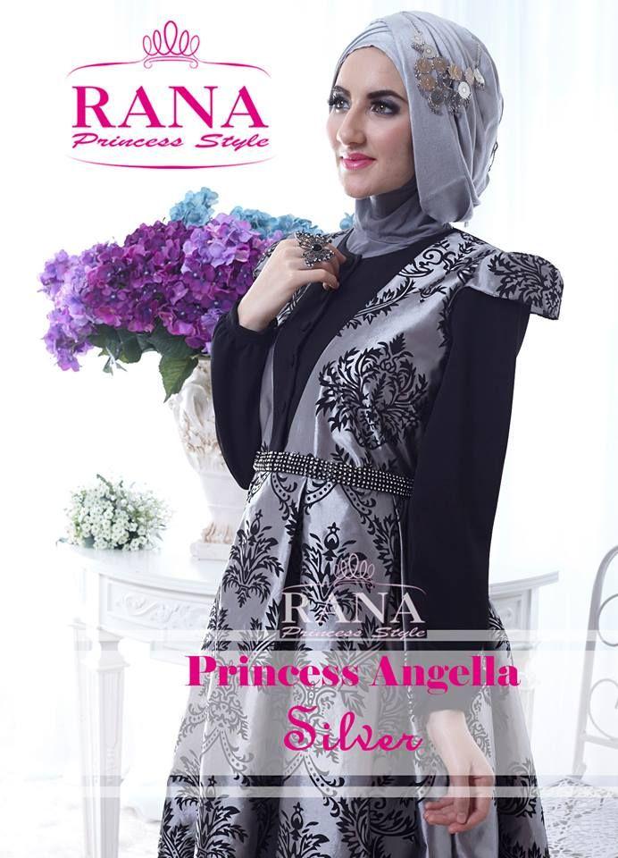Gamis pesta rana Princess Angella Silver yang ekslusif ini terinspirasi dari desain putri cinderela yang cantik dan menggoda. Kombinasi bahan berkualitas poly cotton import dan tafetta silk motif yang elegan dengan kombinasi payet swarovsky.
