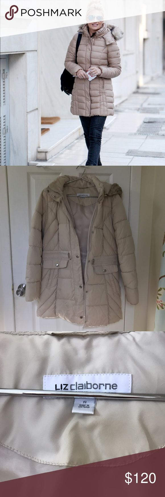 Liz Claiborne long puffer winter coat Great condition Liz Claiborne long puffer winter coat. Extremely warm and great quality coat. Size small cream colored coat. Originally purchased at jcpenny for $200. Comment below any questions or measurement requests. 💜MAKE AN OFFER💜     tags: American eagle, AEO, VS pink, Victoria's Secret pink, PINK, ugg, birkenstocks, bath and body works, B&BW, Hollister, urban outfitters, Alex and Ani, Michael kors, Vera Bradley, lululemon, coach, Nike, adidas…