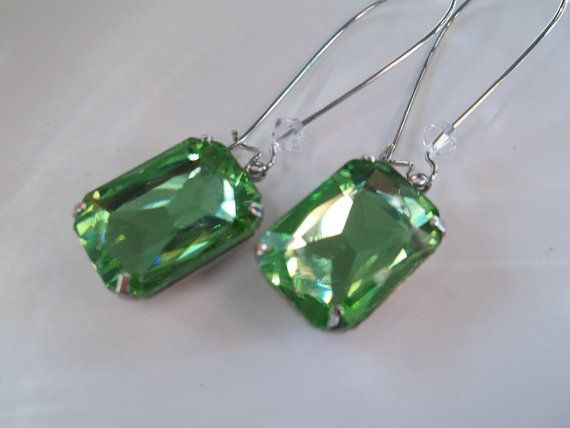 Peridot Rhinestone Earrings Handmade by SpiritSparkleWhimsy