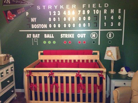 Painted Scoreboard Baseball Themed Bedroom