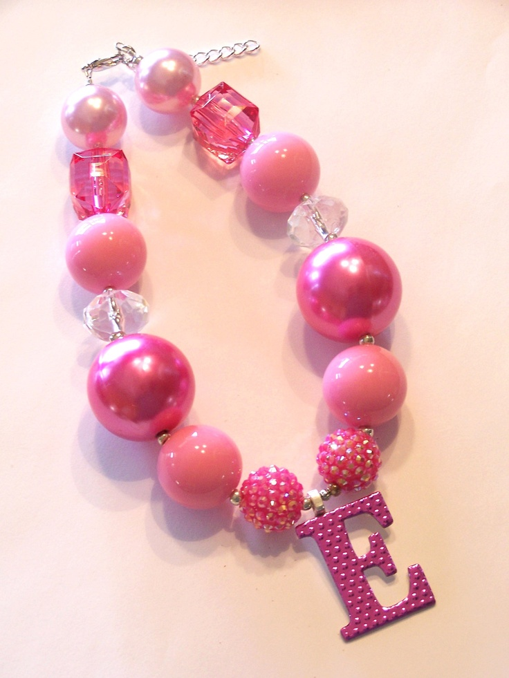 Personalized Foil Initial Hot Pink Girls Chunky Necklace, Girls Big Bead Necklace, Girls Large Bead Necklace, Girls Necklace. $23.00, via Etsy.