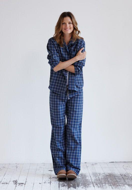 Plaid Pyjamas in Blue/Grey from hush