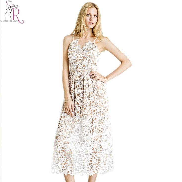 Women White Lace Cami Dress Vintage Crochet Spaghetti Strap Back Zip Up Elegant Midi Dresses 2017 New Summer Club Clothing