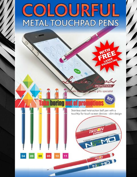 Metal touchpad pens🖊️ Stainless steel twist-action ball pen with a touch tip for touch screen devices - slim design For more info - See more products on our website - http://www.lindajacobspromotions.co.za/