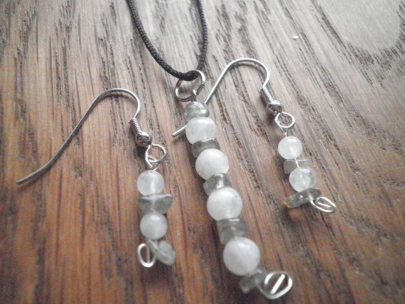Moonstone and Labradorite Necklace and Earring by NorthSpiritRunes, $14.00
