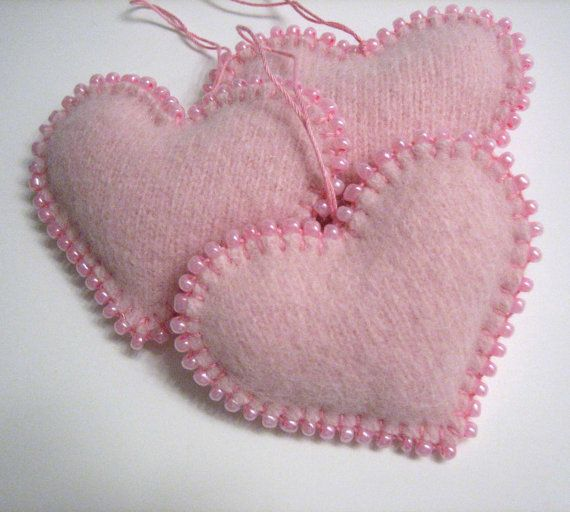 Light Pink Beaded Heart Valentines Day Ornaments by mmwolters, $24.00. Sweet little felted ornaments; nice use of beads in blanket stitch edging.
