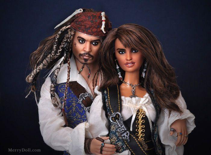 "Johnny Depp and Penelope Cruz dolls...""Pirates of the Caribbean"""