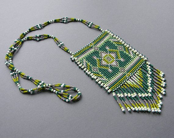 Green Ethnic  Beaded Necklace  beadwoven  necklace by Anabel27shop,