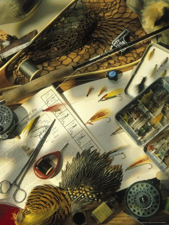 Still Life of Fly Fishing Accessories