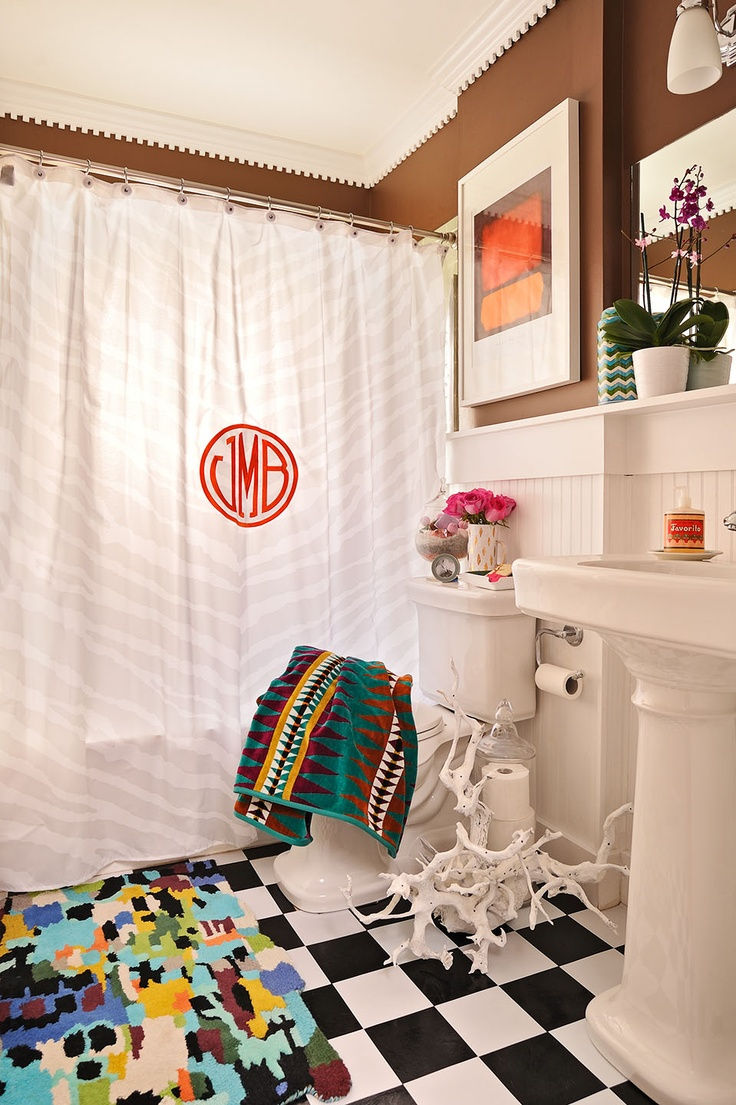 monogramed shower curtain