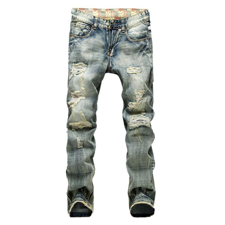 36.65$  Buy here - http://alinnh.shopchina.info/1/go.php?t=32685545243 - 2016 Hot Sale Straight Pants Solid Slim Retro Men Designer Jeans Denim Trousers Biker Jeans Homme Ripped Jeans Male,UMA139  #buychinaproducts