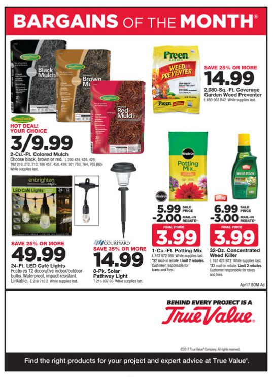 True Value Weekly Ad April 1 - 30, 2017 - http://www.olcatalog.com/true-value/true-value-weekly-ad.html