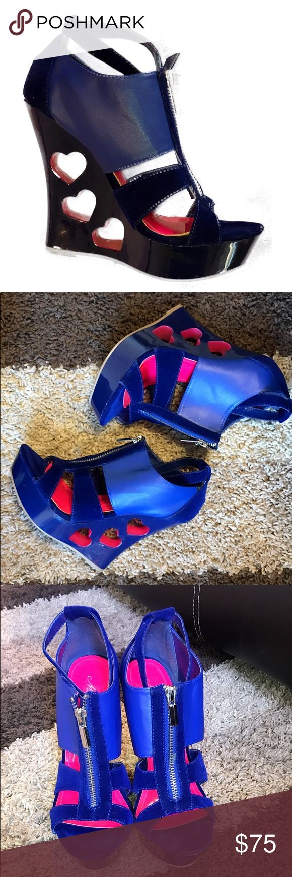 Mascotte Pink and Blue Wedges Mascotte Pink and Blue Wedges Size 8  Worn once Sh…