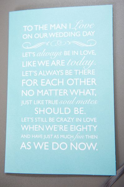 Gorgeous love note from the bride to her groom. Perfect for that something blue! {Photo by Reese Moore Weddings}