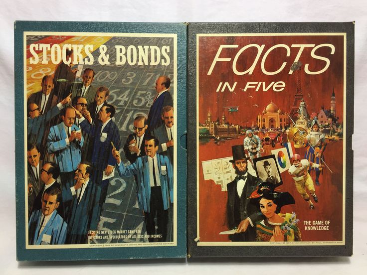 Stocks & Bonds 1964 + Facts in Five 1967 - 3M Bookshelf Games #3M