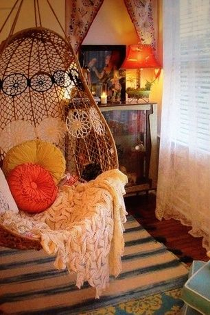 Eclectic Master Bedroom with Anthropologie Melati Neutral-toned Macrame Hanging Chair, Knotted melati hanging chair