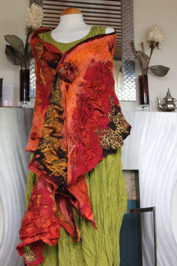 Nuno felted silk & wool shawl collage shawl orange. Opulent use of silk a truly luxurious shawl. Art to wear by Angelab5705