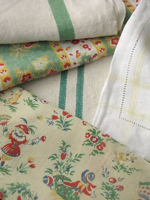 Antique Vintage French fabric materials ~ Project Bundle~ trim + ticking fabrics