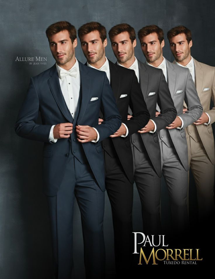 Allure Men tuxedos are available on Slate Blue, Black, Steel Grey, Heather Grey and Tan.  They are modern fits and fabrics that use little or no satin, perfect for your wedding!