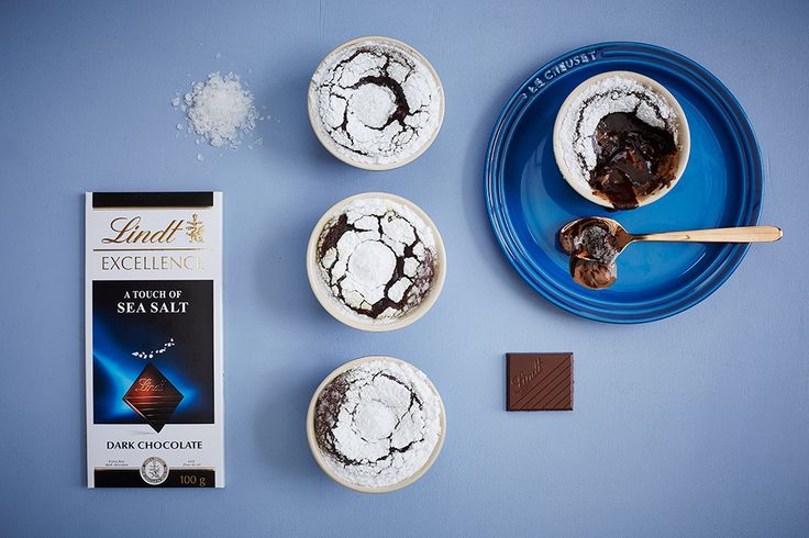 A Touch of Sea Salt Fondant Pudding - LINDT EXCELLENCE recipe crafted in collaboration with Le Creuset