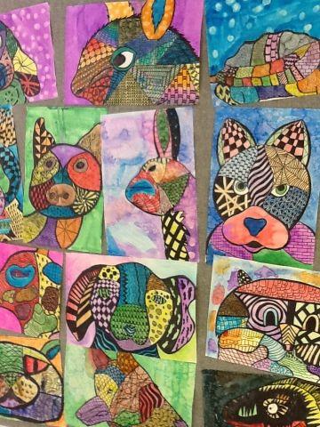 Art at Becker Middle School: 7th grade. Zentangle animals