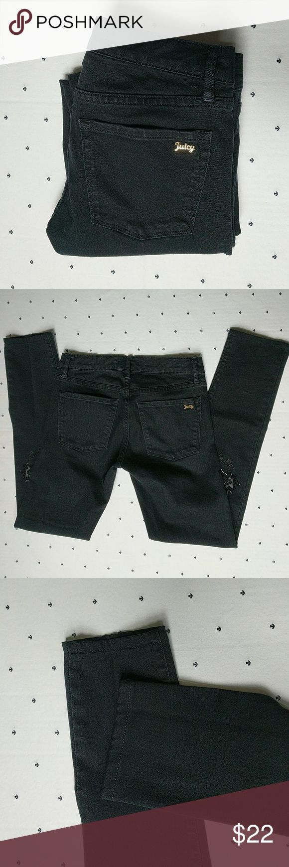 """Juicy Couture Skinny Bling Jeans Beaded and embroidered black skinny jeans. 28"""" inseam. EUC Juicy Couture Jeans Skinny"""