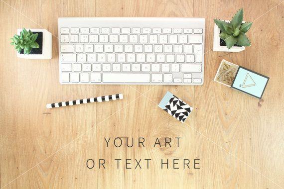 Desk Art Mockup for blog Wooden desk keyboard by confettibears