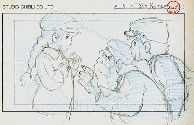 Film: Castle In The Sky ===== Layout Design: Showing Uncle Pom The Laputa Stone ===== Characters Shown: Sheeta, Uncle Pom, Pazu ===== Production Company: Studio Ghibli ===== Director: Hayao Miyazaki ===== Producer: Isao Takahata ===== Written by: Hayao Miyazaki ===== Distributed by: Toei Company