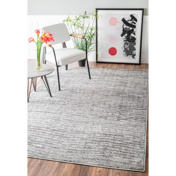 Nuloom Contemporary Waves Solid Grey Rug 5 X 8 Overstock Com