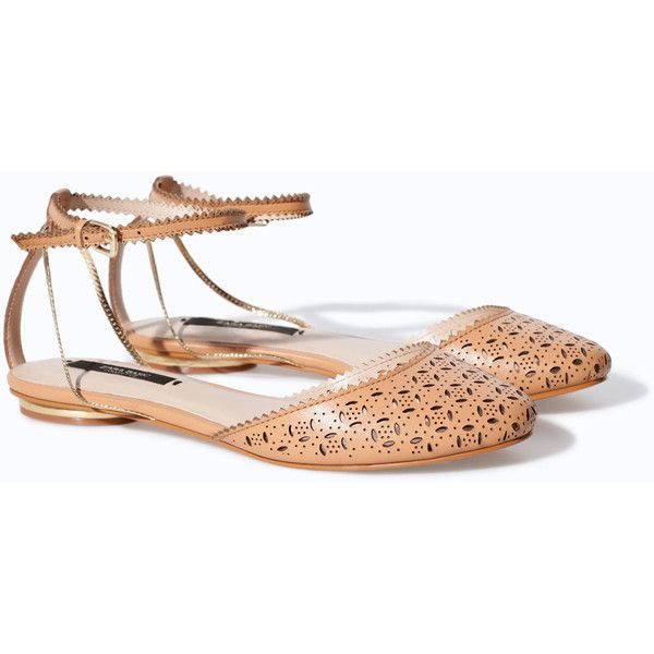 Zara Flat Sandals With Open-Work Leather