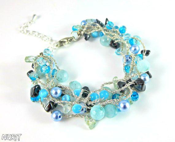 #bracelet, #crochet, #light blue, #beaded, #blue, #chunky, #strand, #gemstone, #beads. #jewellery, #handmade