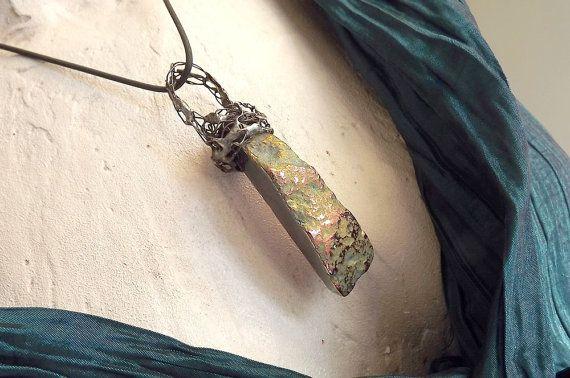 Colored pendant. Pendant with titanium quartz. by AcoyaJewellery