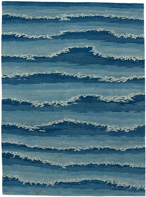 Cape Cod Ocean . area rug in himalayan wool.....how about sewing this out  of denim n fraying it....i could make it look like waves....totally