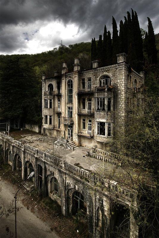 Abandoned Hotel Skala in Gagra, former Republic of Georgia, Russia.