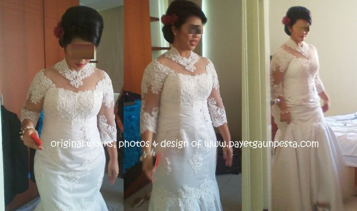 Wedding Dress with sleeves from tulle and brocade for a big size Bride.. Who says Big can't be pretty? ^^