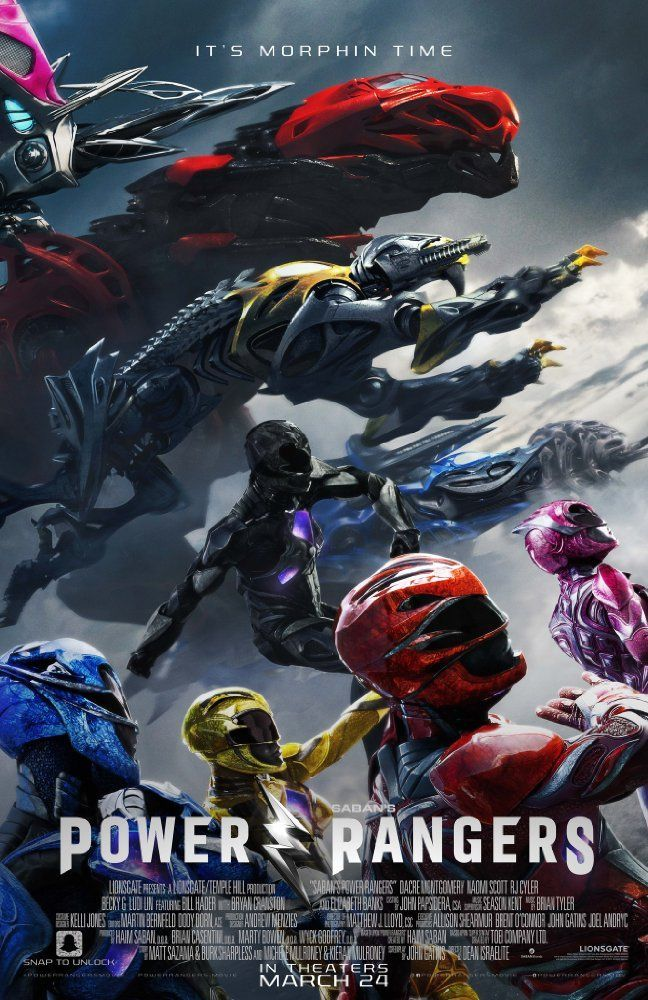 Power Rangers (2017) PG 13  -  A group of high-school students, who are infused with unique superpowers, harness their abilities in order to save the world.  -    Director: Dean Israelite  -   Writers: John Gatins (screenplay), Matt Sazama (story by)  -   Stars: Dacre Montgomery, Naomi Scott, RJ Cyler   -    ACTION / ADVENTURE / SCI-FI