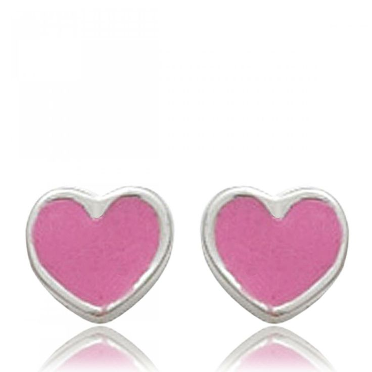 Ladies silver Coeur pink earrings - Bijoux Paris