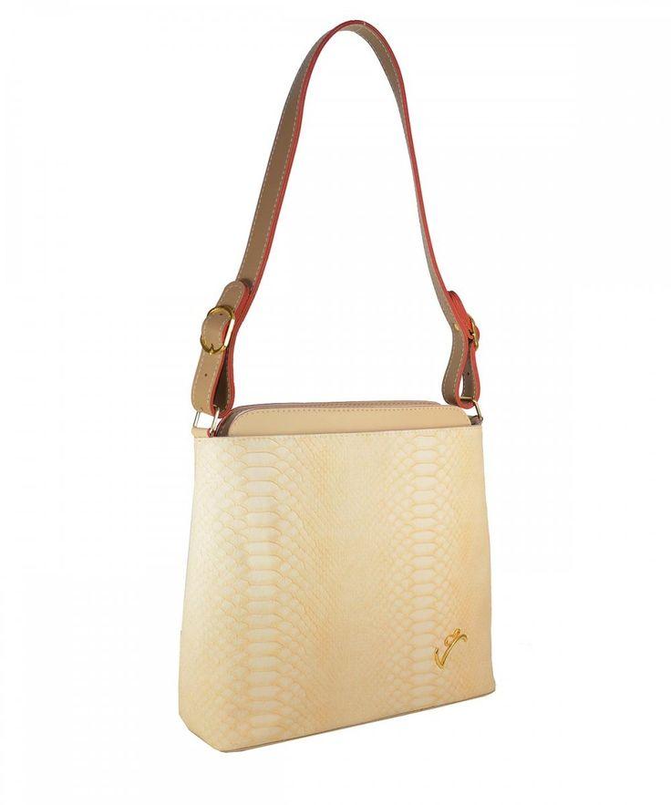 Μπεζ γυναικεία τσάντα ώμου Veta