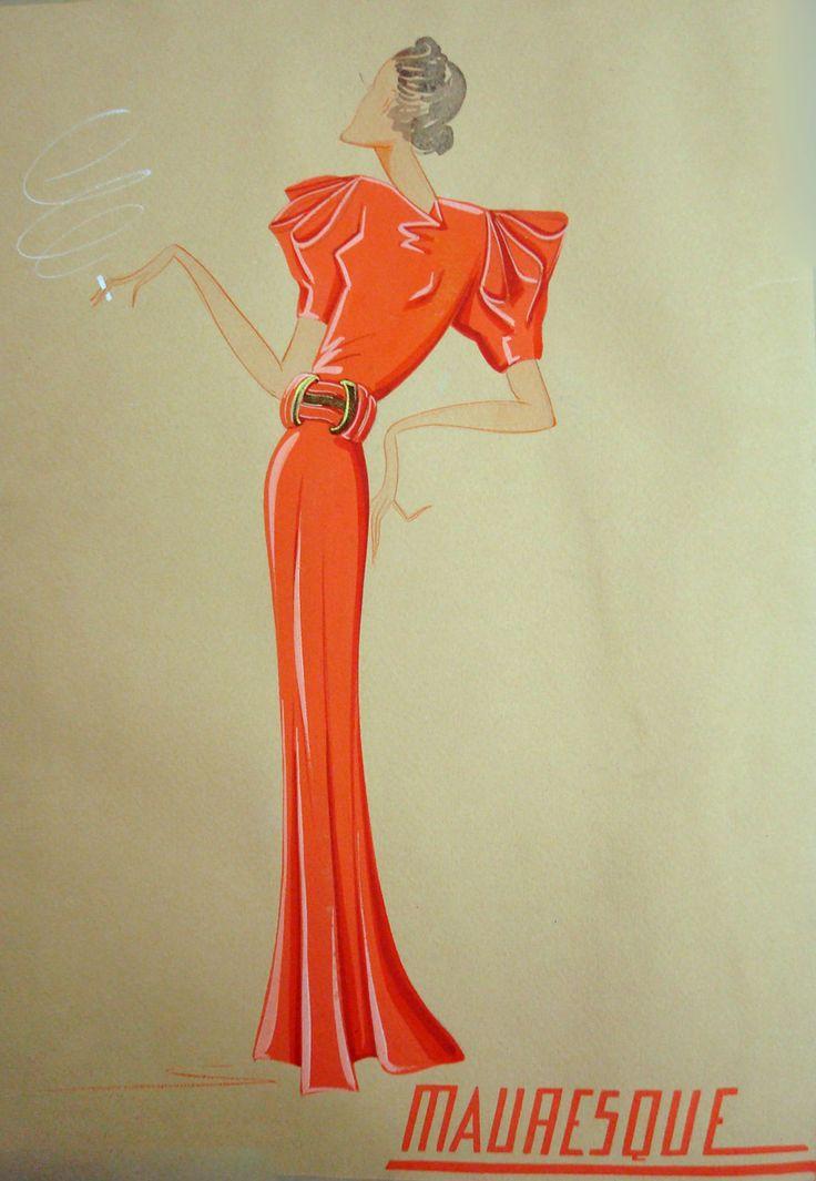 Esquisse Et Croquis Mode Lanvin 1936 Chicas Pinterest Moda Vintage Bazares Y