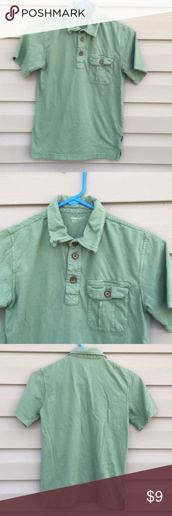 GapKids boys green polo shirt with wooden buttons Nice green shirt with button front pocket, wooden buttons, 100% cotton, no snags, stains or holes GapKids Shirts & Tops Polos