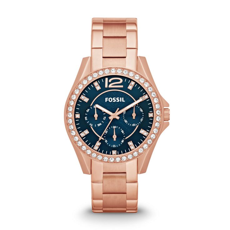 Fossil Riley Multifunction Stainless Steel Watch - Rose so many to add to the collection...which do i buy first! LOL: Bauble, Rosegold Teal, Ashley Fossil, Fossil Watch Rose Gold, Rose Gold Fossil Watch, Beautiful Fossil, Rosegold Watches