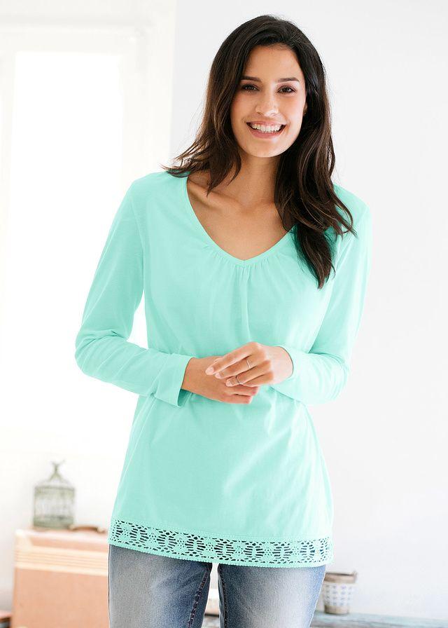 Shirt z długim rękawem Z koronką w • 44.99 zł • bonprix