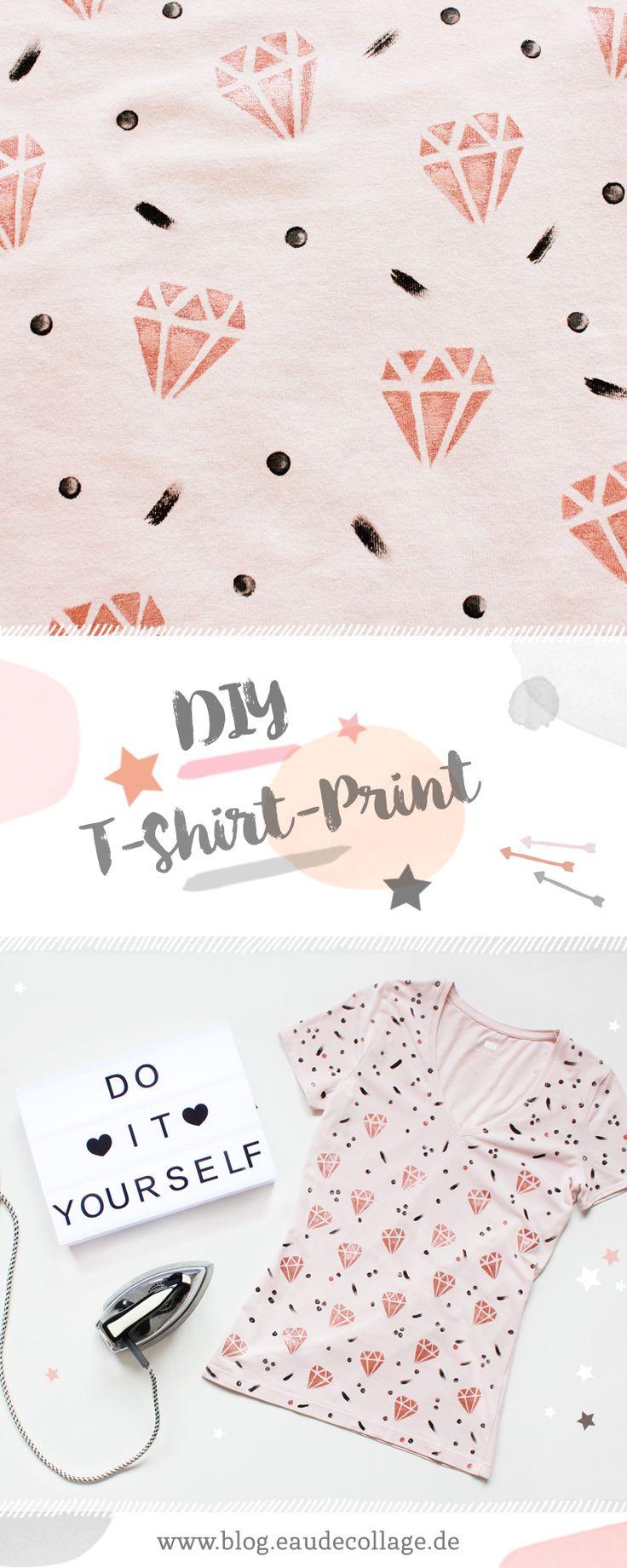 DIY / SHIRT MIT DIAMANT KUPFER PRINT BEDRUCKEN // Dieses süße DIY Shirt mit Diamant-Kupfer-Print könnt ihr mit einem alten T-Shirt, Textilfarbe und einem Bügeleisen ganz einfach und günstig selbermachen!  #shirt #upcycling #diy #diyfashion #pattern #bedrucken #bemalen